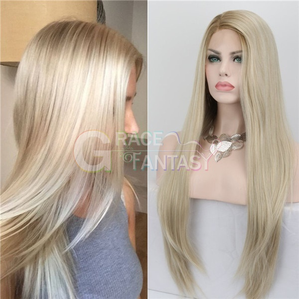 Fashion Glueless Natural Straight Ombre Blonde Lace Front Wigs Side Part Long Heat Resistant Synthetic Hair Lace Wigs For Women