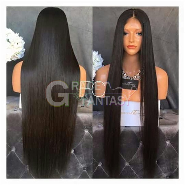 Handmade Long Silky straight Lace Front Wigs Glueless Heat Resistant Synthetic Black Hair Lace Wigs for Women
