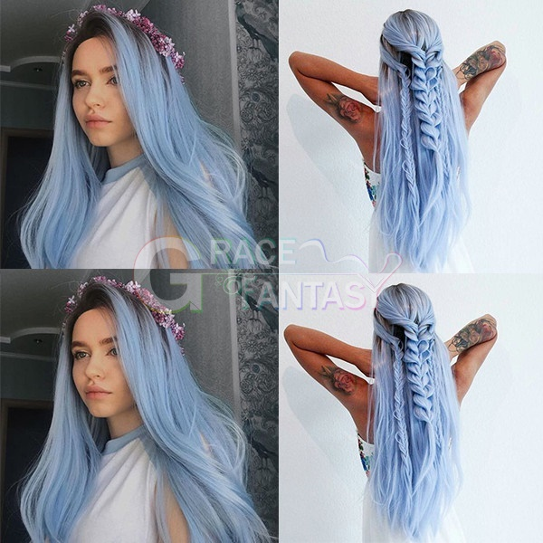 Dark Root Ombre Pastel Blue Long Straight Heat Resistant Fiber Hair Ombre Lace Wigs Light Blue Synthetic Lace Front Wigs for Women