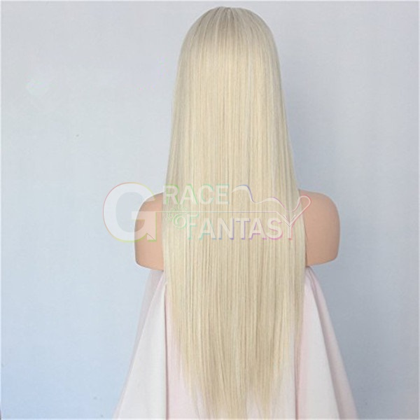 Heat Resistant Synthetic Straight Long Blonde Lace Front Wigs