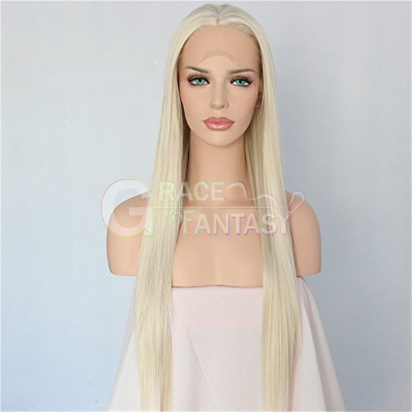 straight long blonde lace front wigs