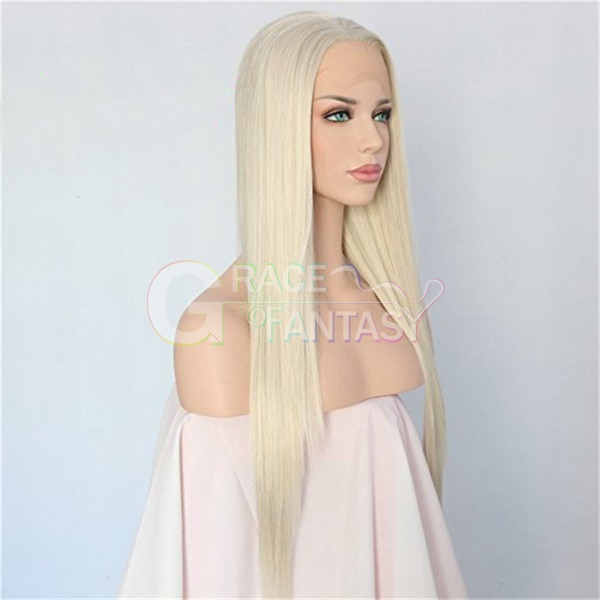 synthetic straight long blonde lace front wigs