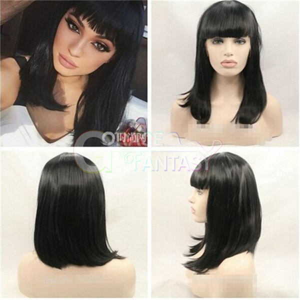 Hot!!!Straight Wigs Glueless Synthetic lace front wigs with bangs black hair wigs for black women free part