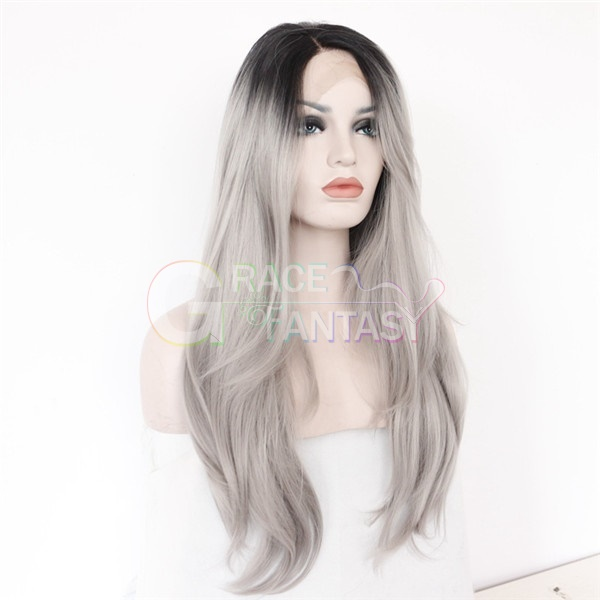 black light gray ombre Synthetic lace front Wigs
