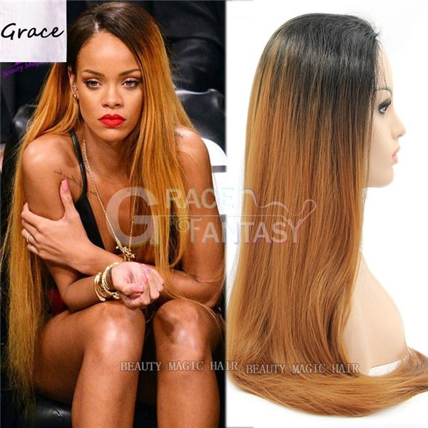 Natural Straight Ombre Synthetic Lace Wigs copper brown synthetic lace front wig for Black Women on sale