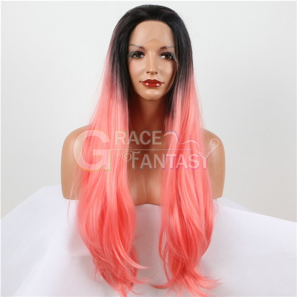 Natural Long Straight Pink Synthetic Lace Wigs Heat Resistant Glueless Ombre Synthetic Lace Front Wigs with baby hair Free Part