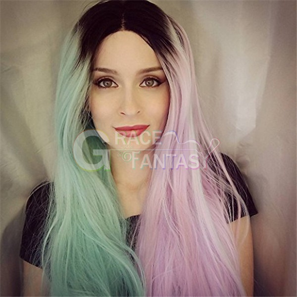 Colorful Balck Roots Half Green Half Pink Glueless Straight Synthetic Lace Front Wigs Heat Resistant for Women Party Wigs