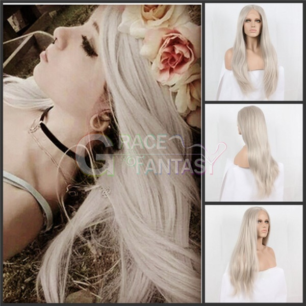 Grace Fantasy Grey Lace Front Wigs Synthetic Hair with Natural Baby Hair for Women Straight Gray Wigs with Bleached Knots Heat Resistant Fiber Wigs Middle Parting Wig