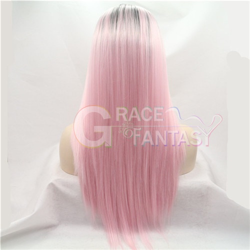 #1b to red two tone heat resistant straight hair synthetic lace front wigs