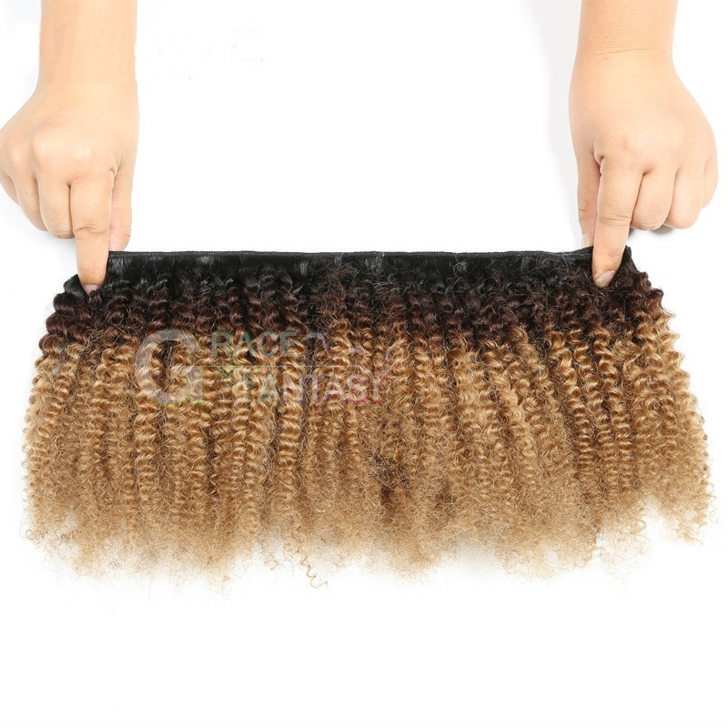 hair weft extensions #1B/4/27 black to brown to blonde kinky curly