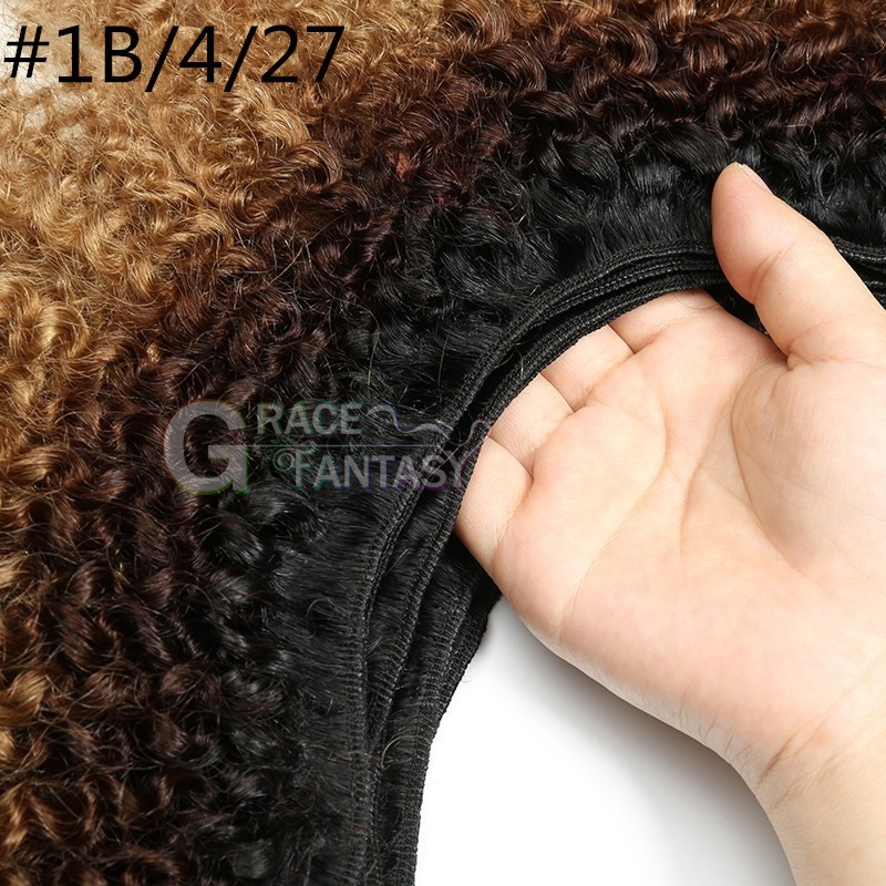 #1B/4/27 black to brown to blonde kinky curly loos curly