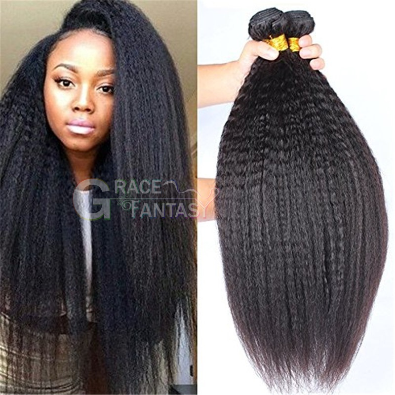 Natural hair color Brazilian Virgin Hair Coarse Yaki Kinky Straight Hair Weaves Brazilian hair weave Italian Yaki Straight Unprocessed
