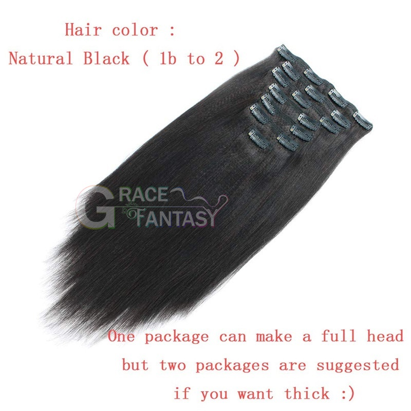 hair lip in hair extensions Yaki straight Double Wefts clip in hair pieces