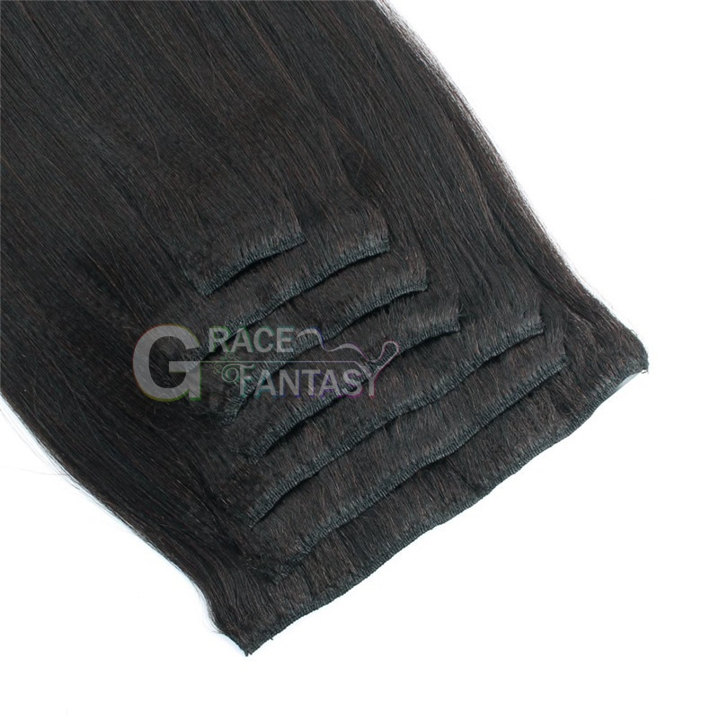 Yaki straight Double Wefts clip in hair pieces thick natural black