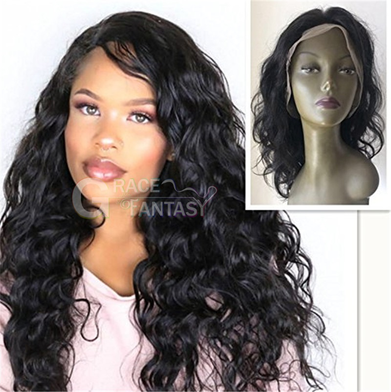 Brazilian Virgin Human Hair Natural Wave Bundles Lace Frontal Closure with 13 ×4 Front Lace Closure Veer 130% Density Curly Hair with Baby Hair Natural Black