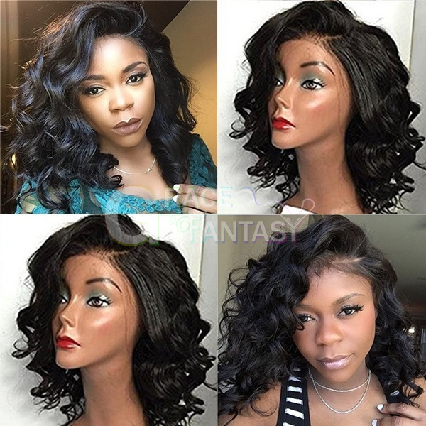 14inch African American Short Curly Wigs Synthetic Lace Front Middle Part Deep Curly Bob Wigs For