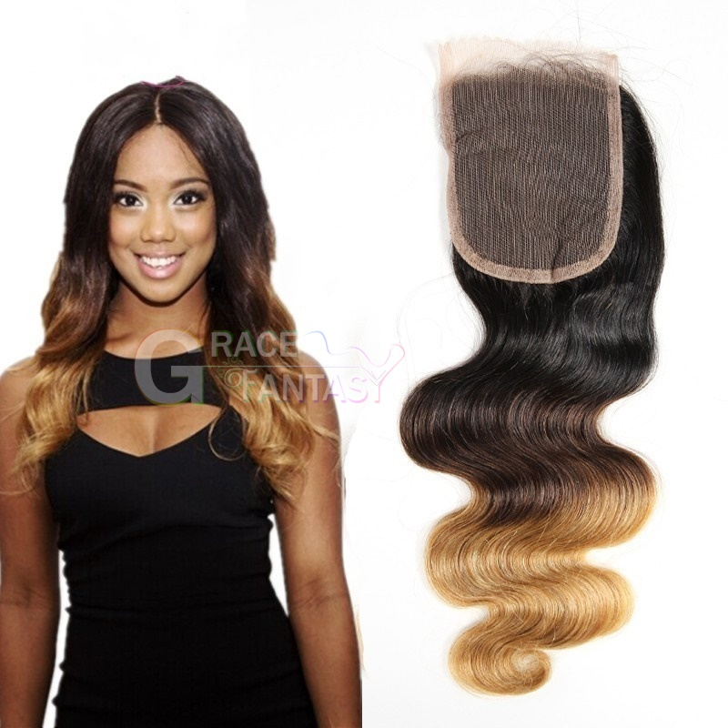 #1B #4 #27 Three Tone Body Wave Lace Closures with Bleached Knots Free Part Natural Black human virgin Hair Lace Top Closure