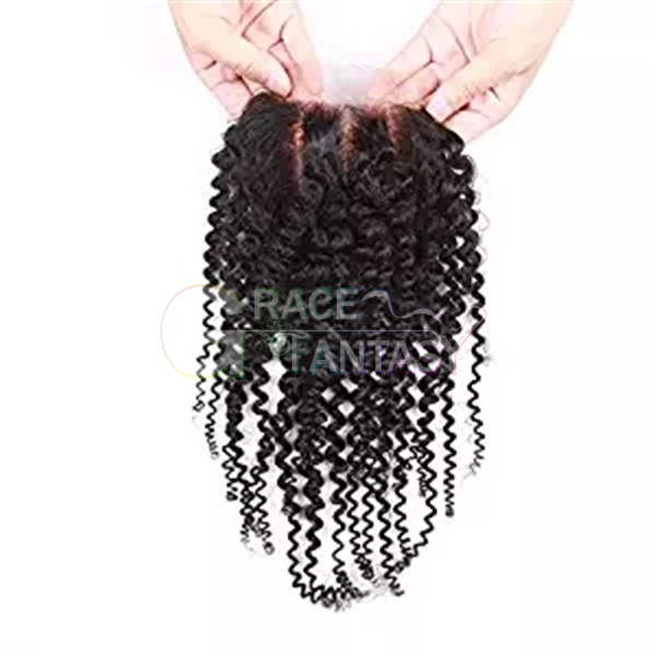4*4 Malaysian Kinky Curly Hair Closures Human Hair Lace Closure Three Part 130% Density Natural Color Curly Top Closures