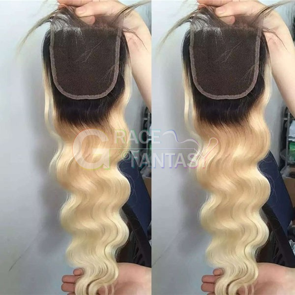 "#613 Blonde Peruvian Lace Front Closures 4X4"" Bleached Knots Peruvian Body Wave Lace Closure Free Middle Three Part Blonde Top Lace Closures"