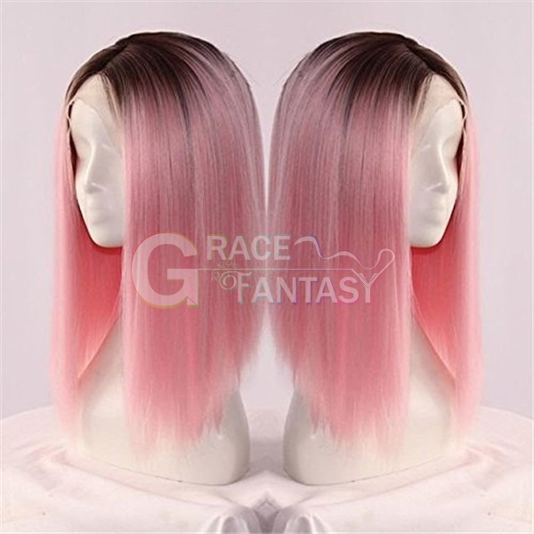 Heat Friendly Ombre Black To Pink Synthetic Lace Front