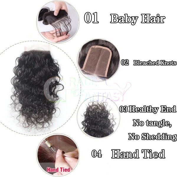 Water Wave Top Lace Closures with Baby Hair