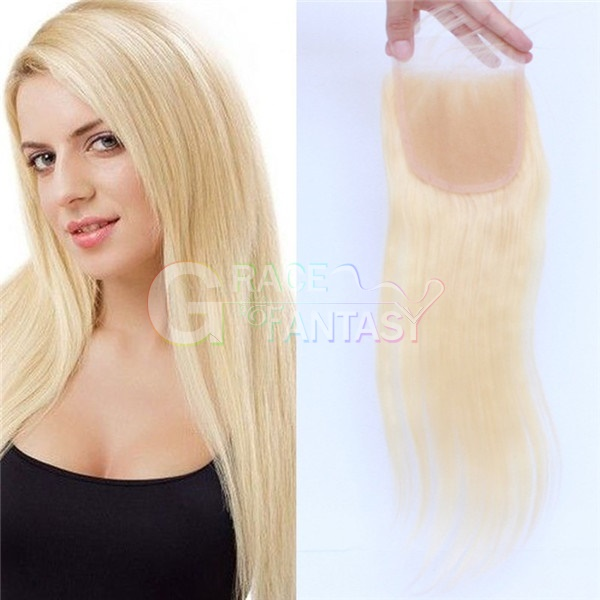 8A Blonde #613 Lace Closures Straight Brazilian Virgin Hair Lace Closure Bleached Knots Human Hair Top Closure With Baby Hair Lace Frontal Closures