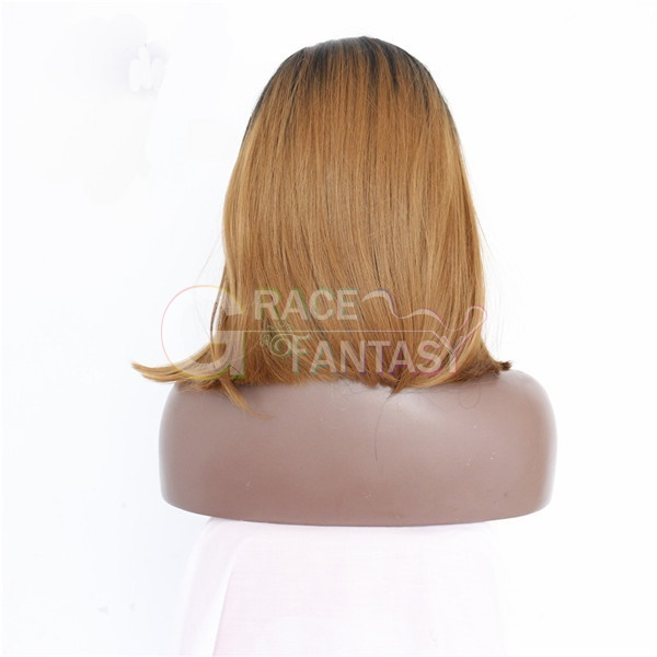 Straight Dark Root Brown Ombre Color Synthetic Fiber