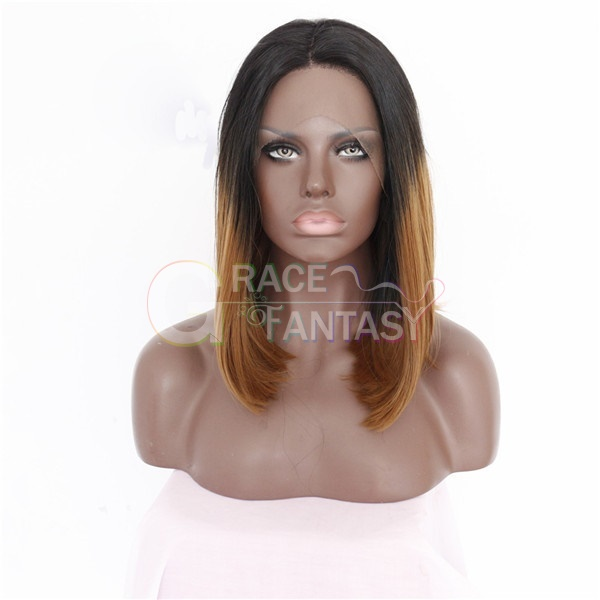 Bob Synthetic Lace Front Wigs Straight Dark Root Brown Ombre Color Synthetic Fiber Short Wigs For Black Women