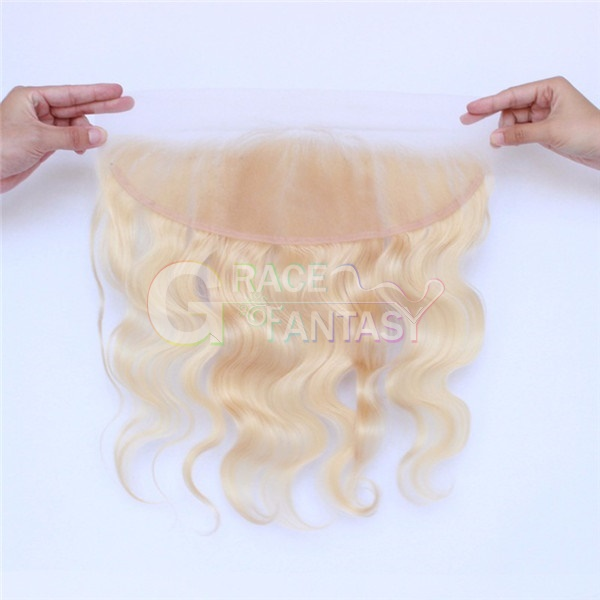 #613 Blonde Brazilian Human Hair Lace Frontals 13x4 With Baby Hair Free Part Bleached Knots Virgin Body Wave Lace Frontals