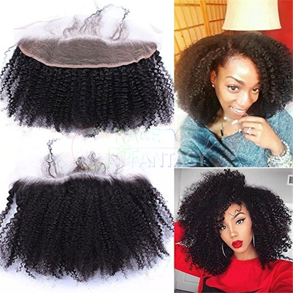 "Mongolian Virgin Afro Kinky Curly Human Hair Top Full Lace Frontals with baby hair 13""x4"" Frontal Closure Pieces Free Part Bleached Knots"