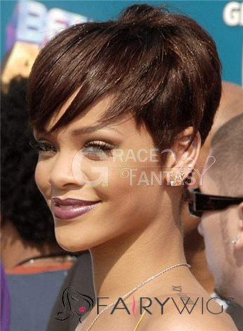 Pixie Cut Brown Wig Short Human Hair Wigs