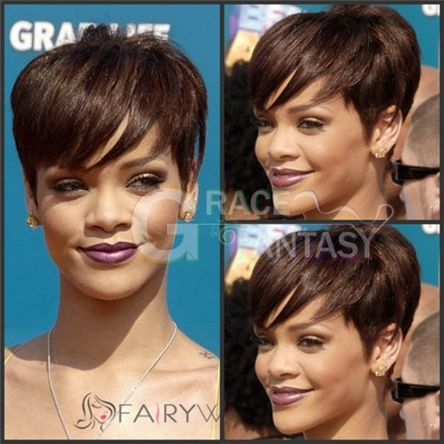 Rihanna Hairstyle Short Human Hair Wigs Pixie Cut Brown Wig with Side Bangs Medium Cap Size None Lace wig