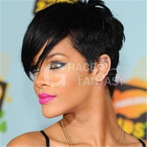 Celebrity Rihanna Hair Style Short Wigs for Women