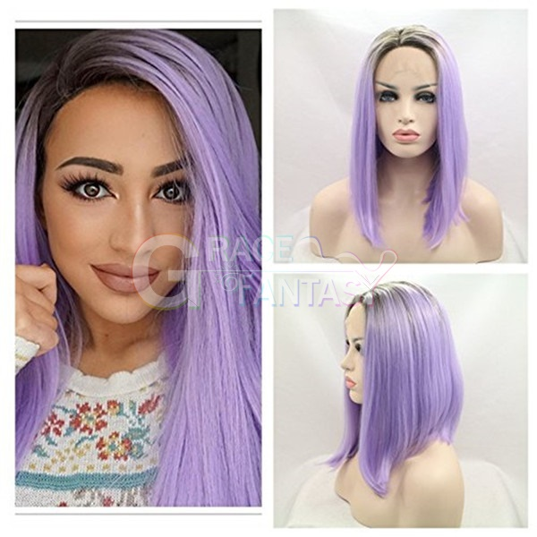 Bob Straight Looking Shoulder Length Wig Synthetic Lace Front Wigs Ombre Purple Synthetic Wigs for Women Daily Natural Looking