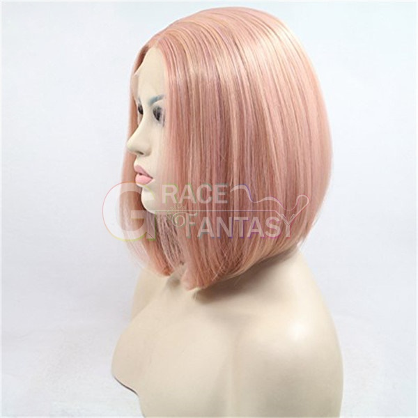 Heat Resistant Fiber Rosie Whiteley Hairstyle Rose Gold Pastel Pink Wig