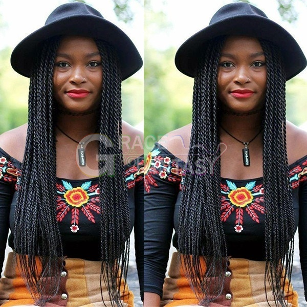 twist lace front wig sintetica 26inch off black african american braided wig Fastshipping natural hairline,African women