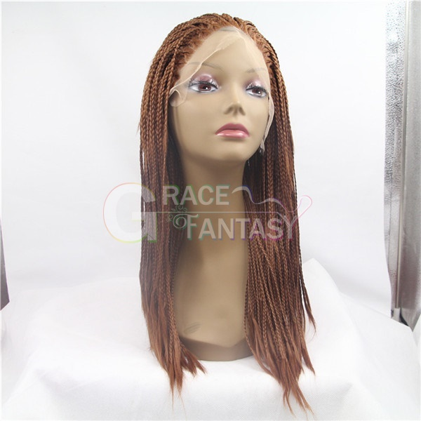 Blonde Synthetic Hair Braided Lace Front Wigs Heat Resistant synthetic Micro Braided Wigs Best Quality Long Synthetic Braided Lace Wig