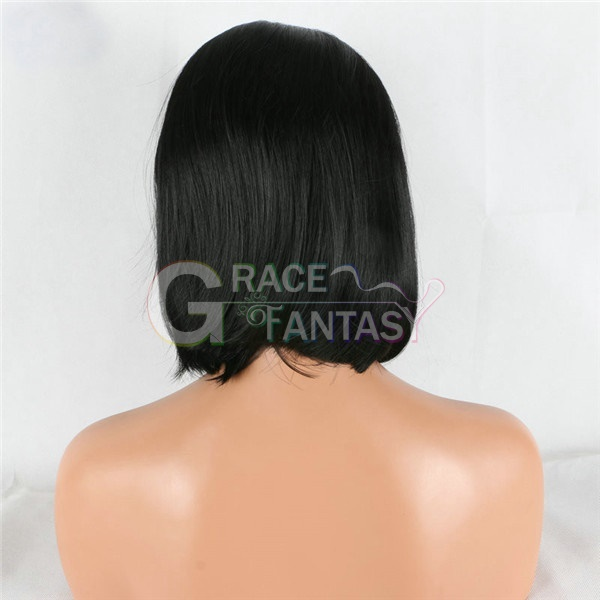 Natural Black bob Straight synthetic lace front wigs
