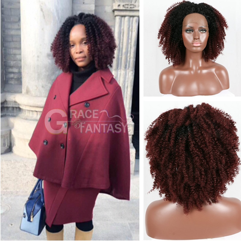 Ombre 1B/99j Synthetic Lace Front Wigs for Black Women burgundy Kinky Curly Synthetic Hair Wigs With Baby Hair Curly  Wigs