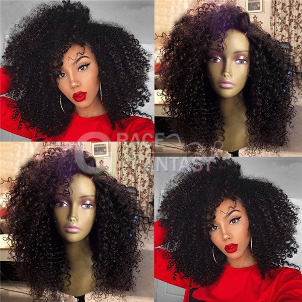 High Quality Afro Kinky Curly Synthetic Lace Front Wigs for African Americans Pre Plucked Curly Lace Wigs Black Hair Synthetic Wigs for Sale High Temperature Fiber Hair Average Cap 22-22.5""