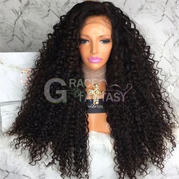 Kinky Curly Synthetic Lace Front Wigs Glueless Long Heat Resistant