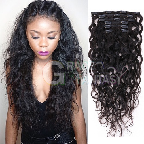 Brazilian Water Wave Clip in Human Hair extensions wet and wavy hair clips 8pcs/set 120g Clip In Hair Extension Water Wave Brazilian Virgin Clip Hair Extensions