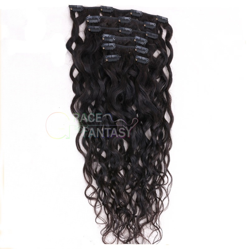 brazilian water wave human hair extension clips