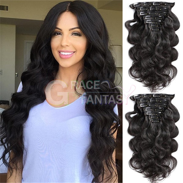 8A Grade Double Layer Weft Peruvian Body Wave Clip In Hair Extensions 100% Remy Human Hair Natural Color Wavy 120Gram Human Hair Clips 8-26Inch