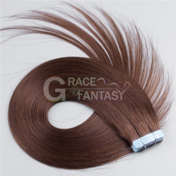 Silky Straight 100% Malaysian virgin tape hair extensions 20pcs #4 remy human hair tape extensions