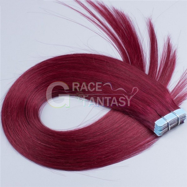 100% Brazilian Virgin Tape Hair Extensions Skin Weft Hair Extensions 50g/set Virgin Remy Tape In Hair Extensions 99j/Burgundy Straight