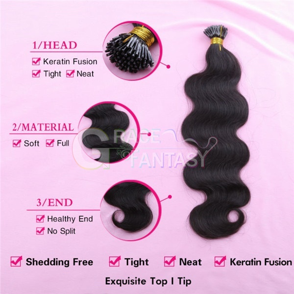 i tip hair extensions Brazilian Body Wave 100g #1B Black keratin bonded hair extensions