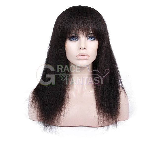 Brazilian Virgin Full Lace Human Hair Wigs kinky straight with Bangs Glueless Full Lace Front Wigs for Women Straight Wigs