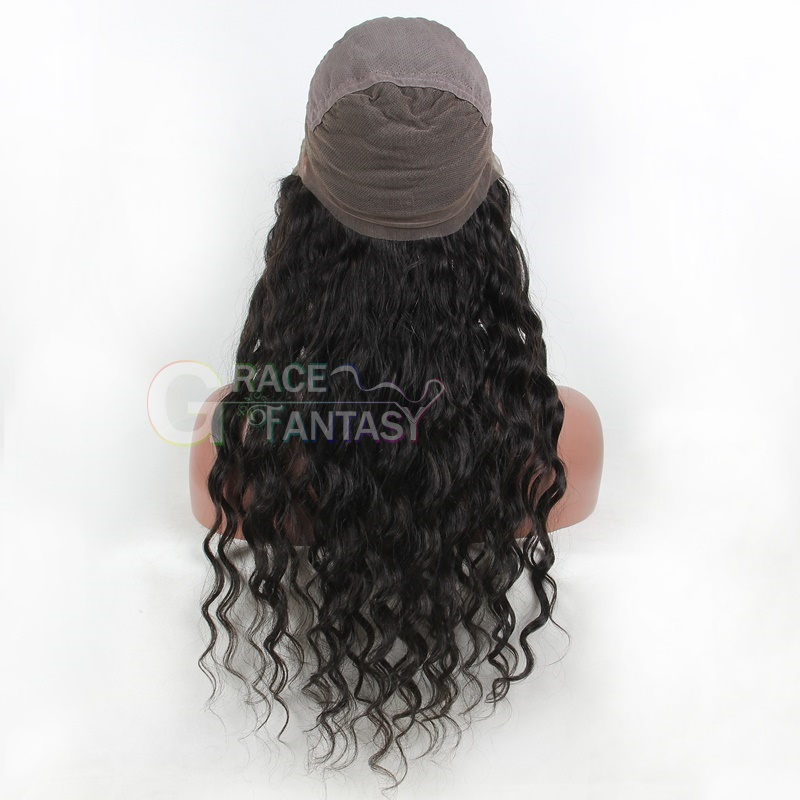 Deep curly full lace human hair wigs natural color