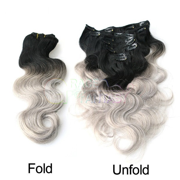 body wave ombre two tone clip in human hair extensions